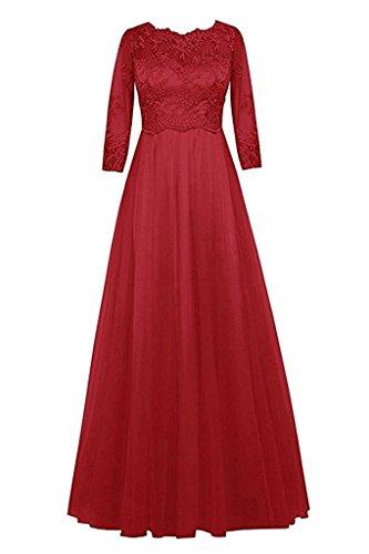 Dunkel Brautjungfernkleider Marie Jugendweihe La Damen Kleider Rot Abendkleider Spitze Promkleider Bodenlang Braut qZxfTdvwfX