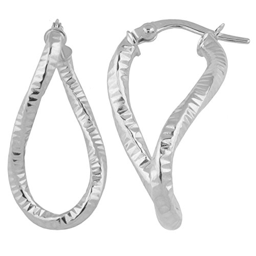 10k White Gold Diamond-cut Twisted Elongated Hoop ()