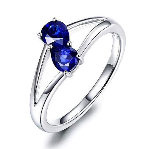 MoAndy Wedding Rings for Women Sterling Silver Jewelry Double Drop Blue Sapphire Size 10 -