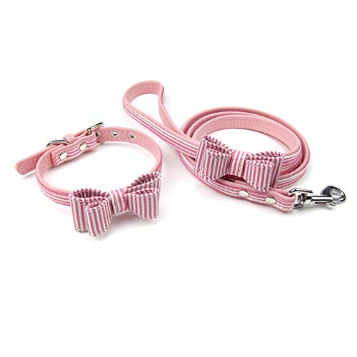 (Alfie Pet by Petoga Couture - Panya Striped Print Collar and Leash Set - Color: Pink, Size: Medium)