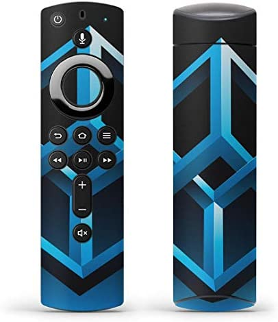 igsticker Fire TV Stick 第2世代 専用 リモコン用 全面 スキンシール フル 背面 側面 正面 ステッカー ケース 保護シール 001097 ユニーク キューブ 青