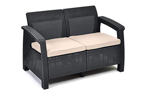Keter Corfu 2 Seater Rattan Effect Sofa Outdoor Garden Furniture – Graphite with Cream Cushions