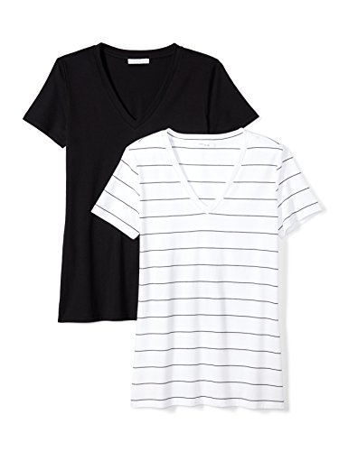 (Daily Ritual Women's Lightweight 100% Supima Cotton Short-Sleeve V-Neck T-Shirt, Black/Black-White Wide Stripe,Large)
