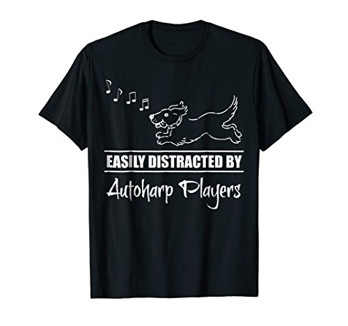 Cute Dog Easily Distracted by Autoharp Players Music Notes T-Shirt