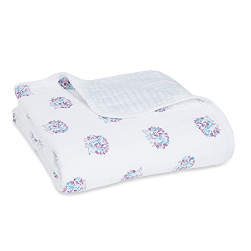 aden + anais Dream Blanket, 100% Cotton Muslin, 4 Layer lightweight and breathable, Large 47 X 47 inch, Thistle - Hedgehog