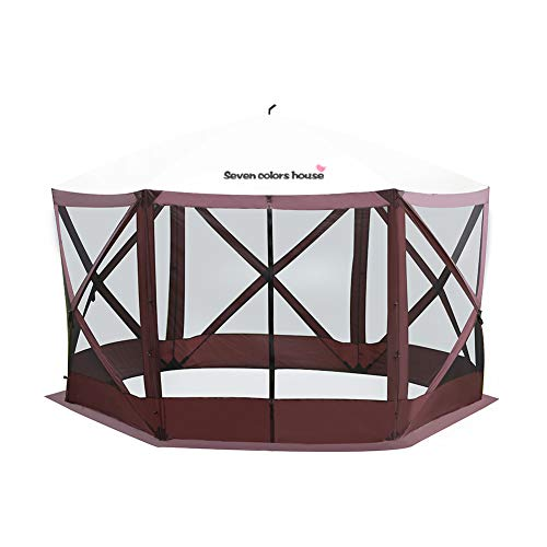 Seven colors house Outdoor Portable Screen House, 6 Sided Popup Large Camping Gazebo Shelter Rain Protection Easy Setup Screened Canopy Tent for 8 Person, 135