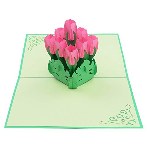 (Anniversary card - Tulips Flower 3d card, popup card, popup greeting card, thank you card, congratulation card, popup cards, Christmas card for anyone you love.)