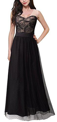 HOMEYEE Elegante U-cuello sin mangas de encaje floral desgaste de remiendo a Banquete largo vestido A039 Negro