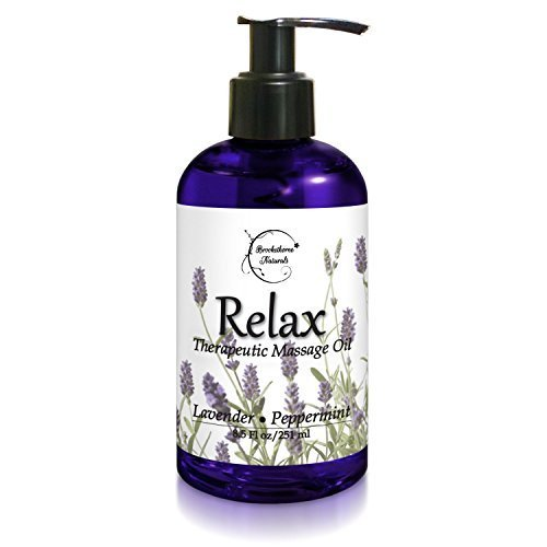 Relax Therapeutic Body Massage Oil - With Best Essential Oils for Sore Muscles & Stiffness – Lavender, Peppermint & Marjoram - All Natural - With Sweet Almond, Grapeseed & Jojoba Oil 8.5oz Body Massage