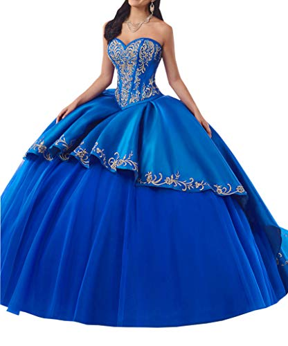 DommyDesign Gold Embroidery Ball Gown Prom Quinceanera Dress for Women Girls Rhinestones Lace up Back Blue ()