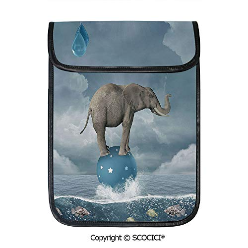 SCOCICI Shockproof Tablet Sleeve Compatible 12.9 Inch iPad Pro Elephant with Balloons On Sea Fish Fantasy Circus Animal Balance Surreal Decorative Tablet Protective Bag
