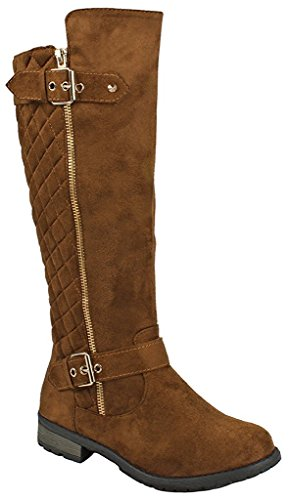 Forever Mango-21 Women's Winkle Back Shaft Side Zip Knee High Flat Riding Boots Tan Nubuck 7.5