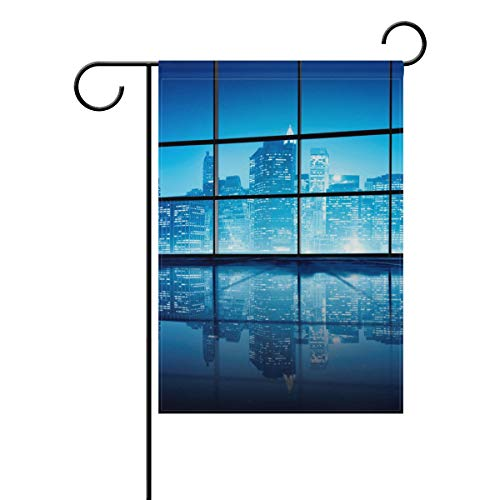 (Lilibeely Home Garden Flags Modern NYC Print Double Sided Decorative House Flags Yard Flag Banner Spring Winter for Wedding Christmas Birtday Party Decorations)