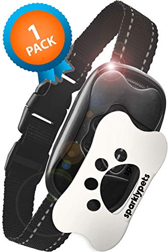 SparklyPets Humane Dog Bark Collar | Anti Barking Training Collar | Vibrating, No Shock Stop Barking for Small Medium Large Dogs | Dog Control Training Device (White and Black 1 Pack)