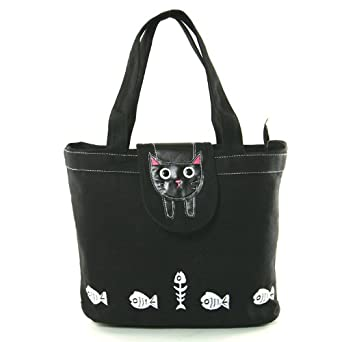 Amazon.com | Black Kitty Cat Flap Canvas Tote Bag - Black | Travel ...