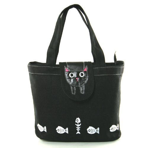 Black Kitty Cat Flap Canvas Tote Bag - Black