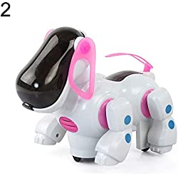 gainvictorlf Pet Supplies Barking Musical Sounds Walks Dance with Light Electronic Robot Dog Kids Toys - Red