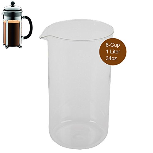 First4Spares For Bodum Spare Glass Carafe for French Press Coffee Maker, 8-Cup, 1.0-Liter, - Glasses Brand French