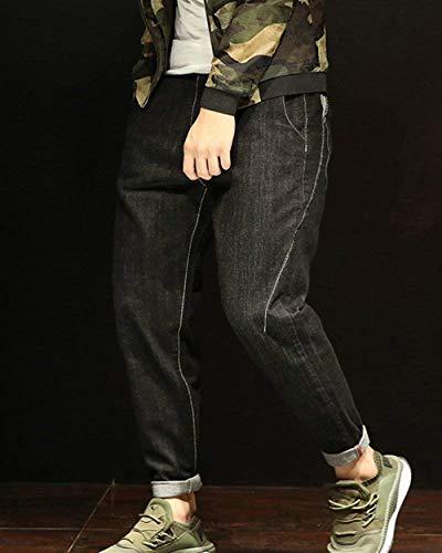 Nero Casual Uomo Chiusura Estilo Harem Slim Con Especial Da Jeans Vintage Pantaloni Denim aROAO