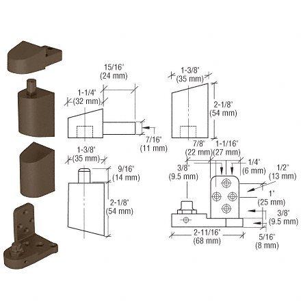 C.R. LAURENCE 0P41RHDU CRL Dark Bronze Offset Right Hand Pivot Set with 3/32