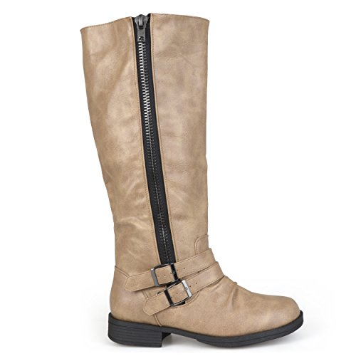Brinley Co Women's Fulton Riding Boot Regular & Wide Calf Taupe