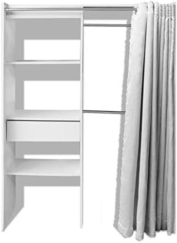 vidaXL Armario Ropero con Cortina Ajustable en Anchura 121-168 cm Color Blanco: Amazon.es: Hogar