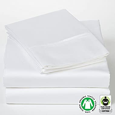 Organic Cotton Sheets SOL Organics Luxury Queen Sateen White 300 Thread Count