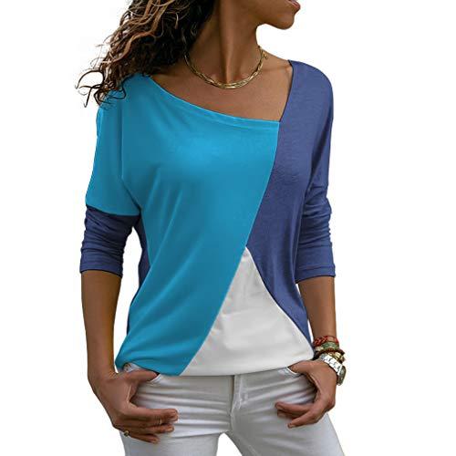 Sarin Mathews Womens Shirts Casual Tee Shirts Long Sleeve Patchwork Color Block Loose Fits Tunic Tops Blouses Navy+Blue - Long Tee Color Sleeve Block