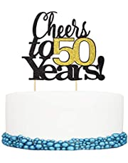 Cheers to 50 Years Happy Birthday Cake Topper 50th Anniversary Birthday Party Decor Supplies