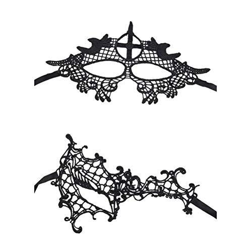 Sexy Mascarade Dentelle Masques Parti - Ensemble De 6 Femmes De Style Vénitien Masque Pour Les Yeux Halloween Filles Carnaval De Bal De Fête Costumée Zhuhaijq Croix + Moitié