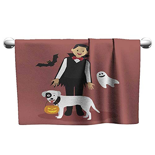 Josepsh Baby Beach Towel Halloween Dracula Costumes with White Dog Carrying a Pumpkin Towel Bath Towels Bathroom 27 x 55 Inch -