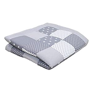 ULLENBOOM® Baby playmat– Grey Stars (140 x 140 cm Baby Comforter Blanket, Great in The Pushchair or as a playmat; Motifs: Stars)