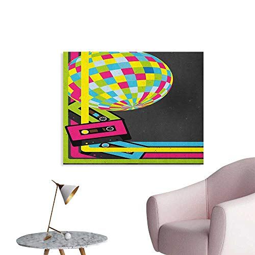 Anzhutwelve Popstar Party Photo Wall Paper Retro Party Theme Disco Ball 80s Style Audio Cassette Tapes Colorful Stripes Custom Poster Multicolor W28 xL20 -