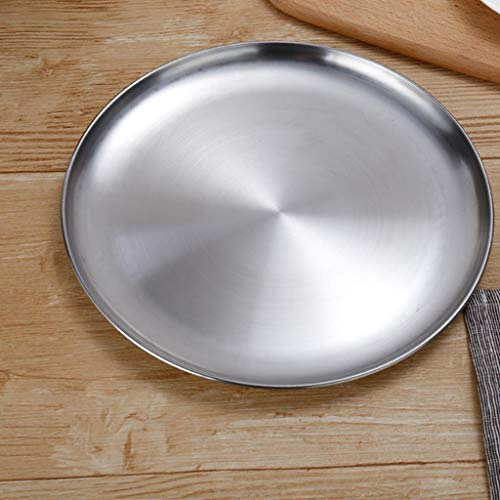 Stainless Steel Round Rice Best Trays Plate Serving Dish Platter Meat Buffet ()