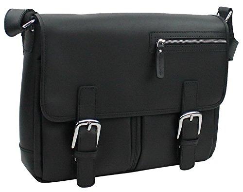 Vagabond Traveler 16'' Cowhide Leather Messenger Bag LM10.BLK by Vagabond Traveler