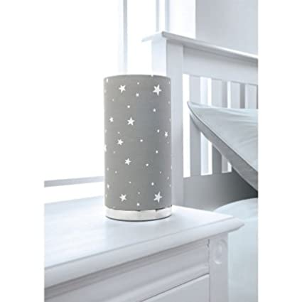Childrens Kids Table Room Lamp Fancy Bedside Printed Grey Stars b7g6Yfyv