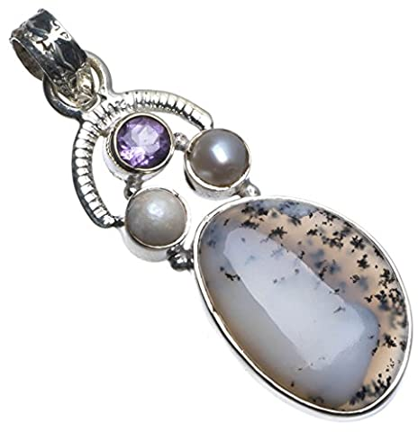 StarGems(tm) Natural Dendritic Opal,Amethyst and River Pearl Unique design 925 Sterling Silver Pendant 1 - Large Opal Globe Pendant