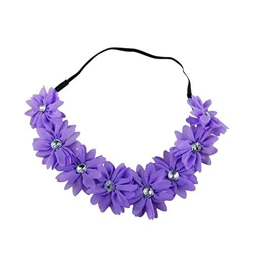 aided Chiffon Crystal Stone Floral Flower Crown Stretch Festival Headband (Crystal Laurel Wreath)