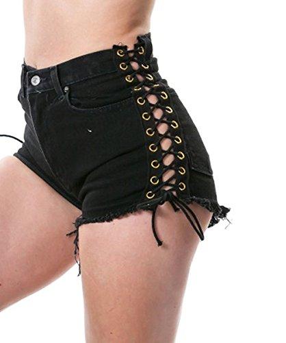 Tengo Womens Ripped Hole Bandage Pants Denim - Waist Bikini High Denim