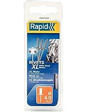 Rapid 5000661 XL blindklinknagel (platte kop) Ø 4 x 12 mm, 50 stuks inclusief boor, grijs, ø4 mm