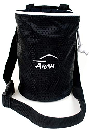 Arah Chalk Bag for Rock Climbing with Quick Clip Belt and Rear Zip Pocket, 7 by 5 inches. ()