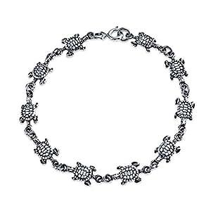 Nautical Beach Sea Turtle Tortoise Link Charm Bracelet For Women For Teen Oxidized 925 Sterling Silver