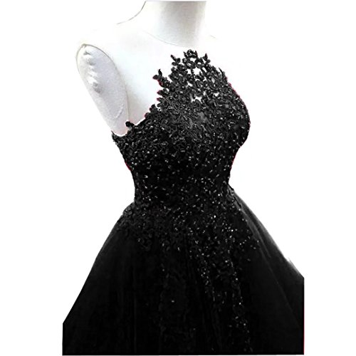 Chady Lace Appliques Black Tulle Prom Dresses 2018 Ball Gowns Beaded Tulle Puffy Backless Quinceanera Dresses Party Gowns by Chady