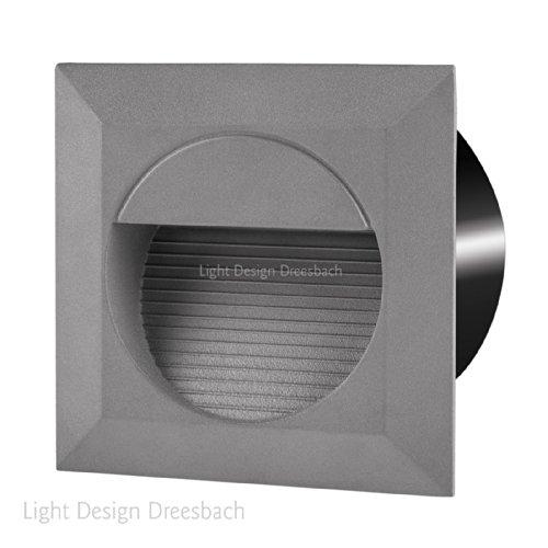 LED Aluminium Wandeinbauleuchte Treppenlicht DURCHVERDRAHTUNG Innen und Aussenbeleuchtung 230V 1,2Watt IP65 warmweiß Einbaumaß ca Breite 123mm x Tiefe 60mm