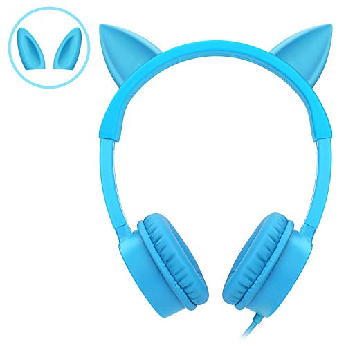 Kids Headphones, Vogek 2 in 1 Cat/Bunny Ear Wired On-Ear Headphones Headsets with 85dB Volume Limited, Children Headphones for Kids – Blue