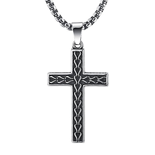 Rolo Titanium - 2ndLink Classic Black Mens Titanium Cross Necklace Pendant,22.5