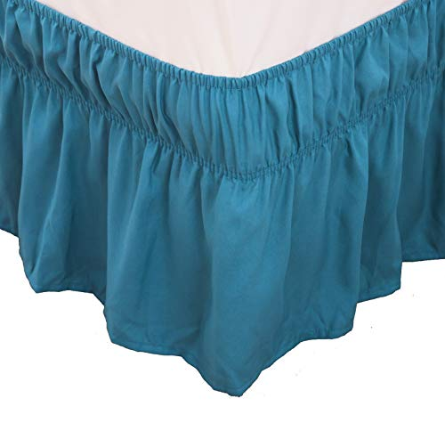 (Bed Skirt-14 Inch Drop Dust Ruffle Three Fabric Sides Wrap Around Ruffled (Queen/King Teal) Brushed Microfiber Adjustable Elastic Easy Fit)