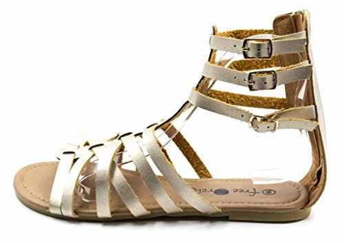 Charles Gold Sandal Width Leather Womens Free Back Buckle Vegan Strappy Gladiator Wide Albert Zip Reign fxqFHfrw