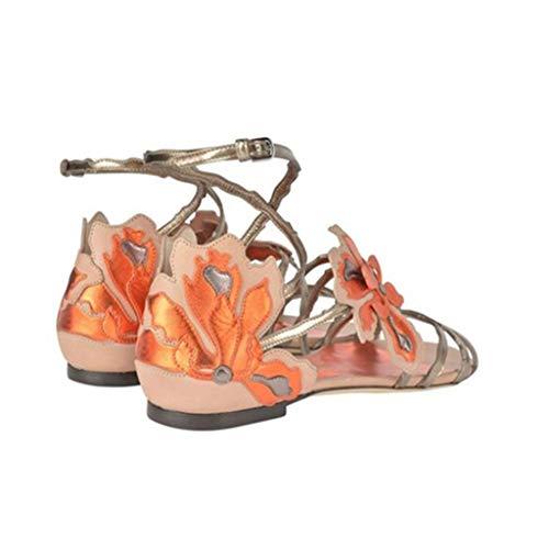 Moda Sandalias Hebilla Verano Hrn Nuevos Mujer Y Decorativa Flores Pu Romanas Pink Primavera Planos Artificial Punta Abierta Zapatos Con De 6gAqwSd