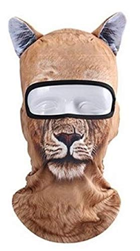 ShopTrend 3D Animal Ear Balaclava Outdoor Full Face Mask for Motorcycle Hats-Suitable for Crazy Cool Halloween Parties–Animated Costume Props-9 Different Types- (15.74) x(10.23) inch (Yellow Lion) -
